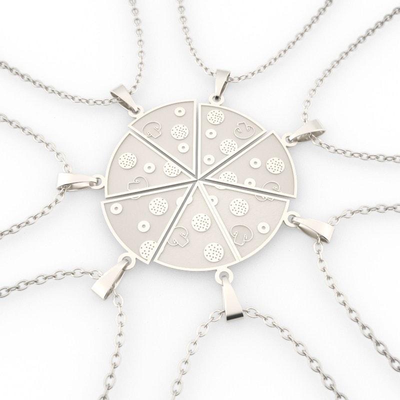 COLLAR PORCIONES DE PIZZA DE PLATA
