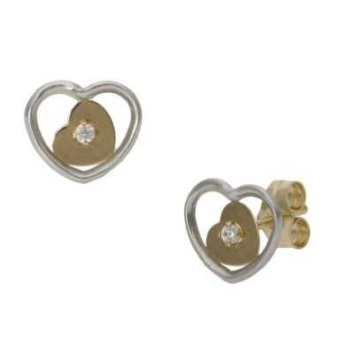 PENDIENTES BICOLOR ORO 18KL CORAZON - 9X8MM